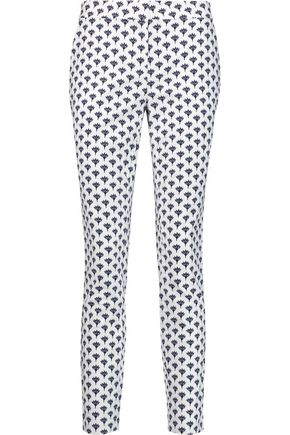 DIANE VON FURSTENBERG Genesis printed stretch-cotton cloqué slim-leg pants