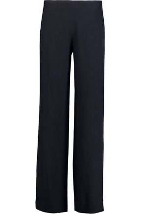 HELMUT LANG Pintucked ramie-blend crepe wide-leg pants