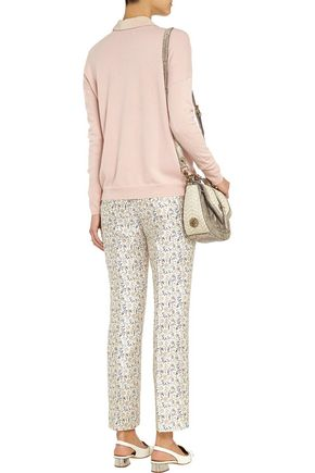TORY BURCH Frances printed silk-faille straight-leg pants