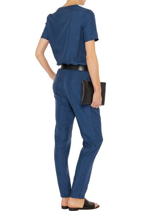 IRIS AND INK Justine washed-silk jumpsuit