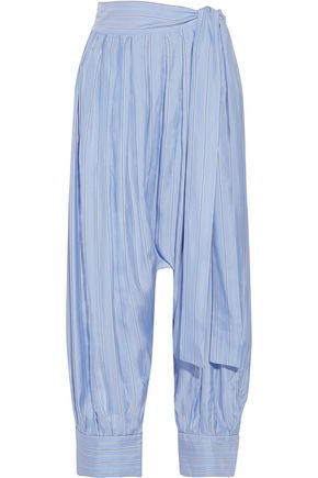 J.W.ANDERSON Pleated striped silk-satin twill tapered pants