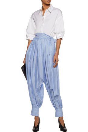 J.W.ANDERSON Pleated striped silk-satin twill tapered pants