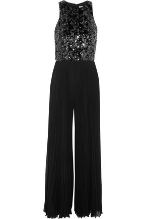MIKAEL AGHAL Sequin-embellished pleated chiffon jumpsuit