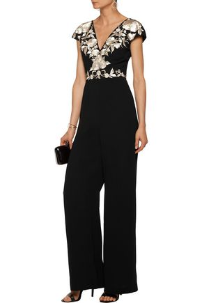 CATHERINE DEANE Inka metallic embroidered satin jumpsuit