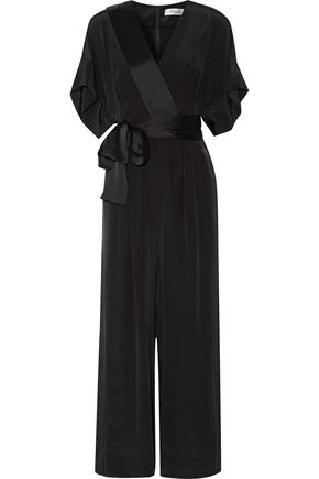 DIANE VON FURSTENBERG Wrap-effect satin-trimmed silk crepe de chine jumpsuit