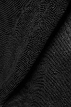 TIBI Cropped pleated crepe wide-leg pants