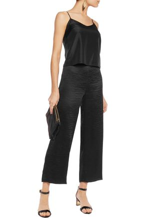 TIBI Cropped pleated crepe wide-leg pants