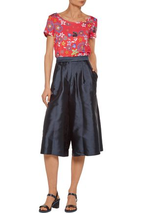SUNO Pleated silk and cotton-blend faille culottes
