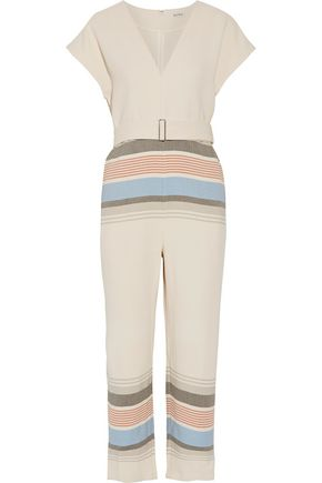 SUNO Belted striped voile jumpsuit