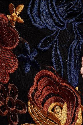 ALICE + OLIVIA Athena embroidered mesh wide-leg pants