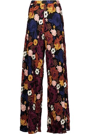 ALICE + OLIVIA Athena embroidered mesh wide-leg pants