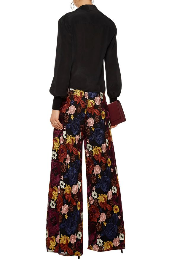 Athena embroidered mesh wide-leg pants   ALICE + OLIVIA   Sale up to 70% off    THE OUTNET