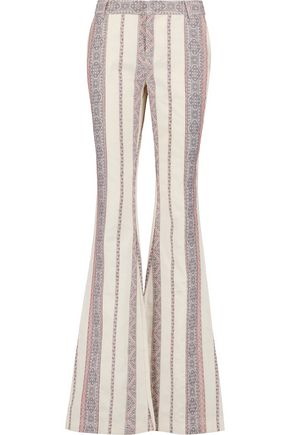 10 CROSBY DEREK LAM Cotton and linen-blend jacquard bootcut pants