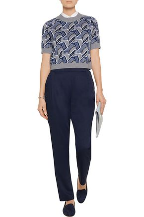DEREK LAM 10 CROSBY Pleated crepe tapered pants