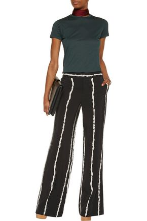 10 CROSBY DEREK LAM Printed silk wide-leg pants