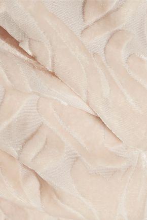CUSHNIE ET OCHS Cutout flocked chiffon jumpsuit