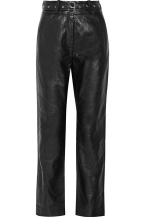IRO Rifra belted leather straight-leg pants