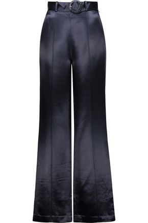 CINQ À SEPT Hera belted satin wide-leg pants