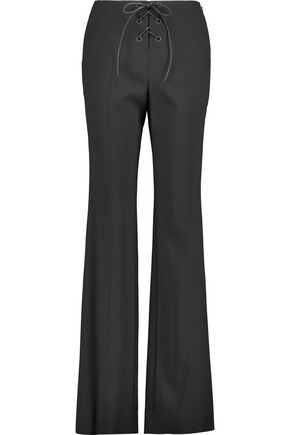 SONIA RYKIEL Faux leather-trimmed crepe straight-leg pants