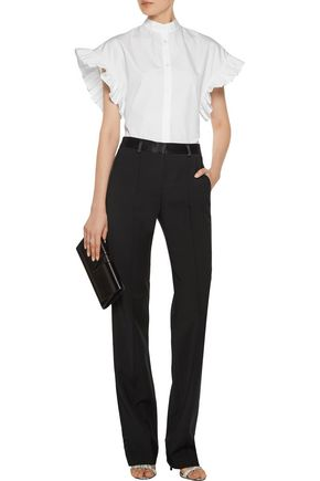 ADAM LIPPES Pleated wool-blend straight-leg pants