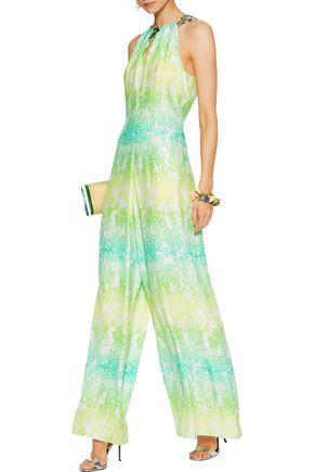 MATTHEW WILLIAMSON Embellished printed silk crepe de chine jumpsuit