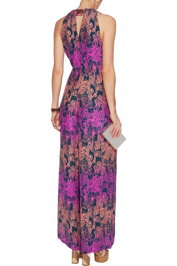Embellished printed silk crepe de chine jumpsuit | MATTHEW WILLIAMSON |  Sale up to 70% off | THE OUTNET