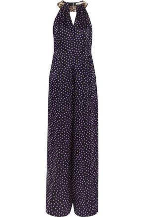 MATTHEW WILLIAMSON Embellished polka-dot silk-chiffon jumpsuit