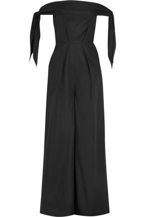 PAPER London Toulon off-the-shoulder cotton-poplin jumpsuit