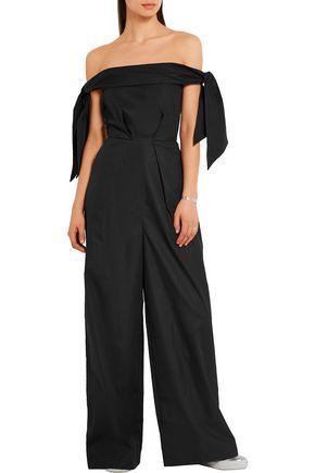 PAPER London Toulon off-the-shoulder cotton-poplin jumpsuit
