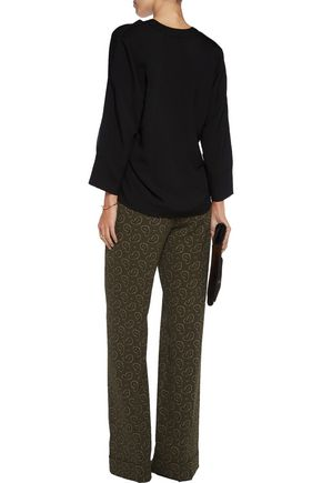 MICHAEL KORS COLLECTION Printed crepe wide-leg pants