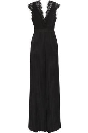 CATHERINE DEANE Hessa lace-trimmed pleated satin-jersey jumpsuit