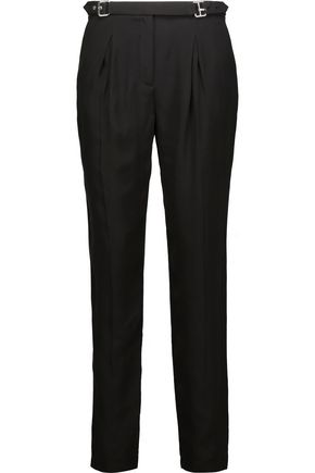 SANDRO Pacifik pleated crepe straight-leg pants