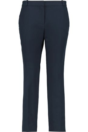 SANDRO Cotton and wool-blend straight-leg pants