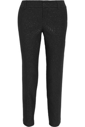 ALICE + OLIVIA Stacey glittered cotton-blend straight-leg pants