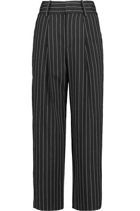 ALICE + OLIVIA Rosalinda cropped pinstriped broadcloth straight-leg pants