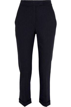 A.L.C. Benji cropped pinstriped piqué slim-leg pants