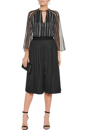 ALICE + OLIVIA Pleated twill culottes