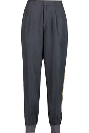 RAOUL Striped washed-silk tapered pants