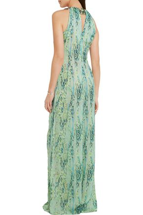 MATTHEW WILLIAMSON Embellished snake-print silk-chiffon jumpsuit