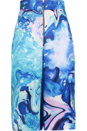 MATTHEW WILLIAMSON Marble-effect silk-satin culottes