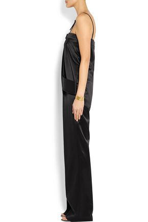 GIVENCHY Leather-trimmed silk-satin jumpsuit