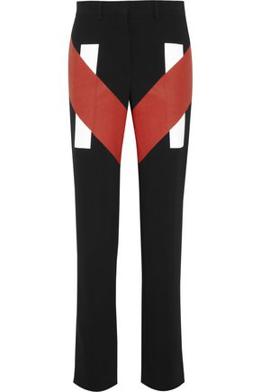 GIVENCHY Coated-paneled stretch-cady straight-leg pants