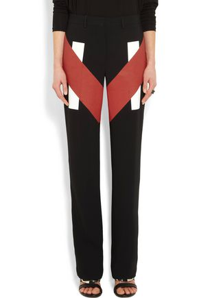GIVENCHY Coated-paneled stretch-cady straight-leg pants