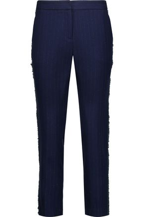 LA LIGNE Fringe-trimmed pinstriped wool-blend tapered pants