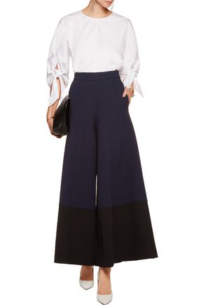 MERCHANT ARCHIVE Two-tone wool-crepe wide-leg pants