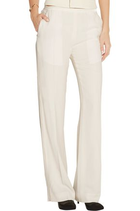 HAIDER ACKERMANN Satin-trimmed crepe wide-leg pants