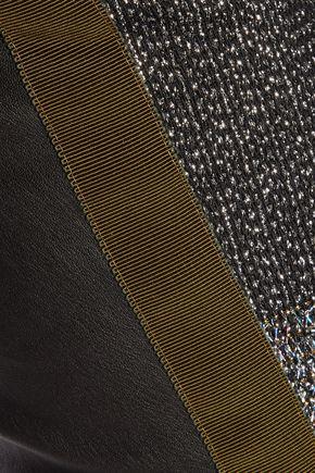 HAIDER ACKERMANN Metallic fil coupé and leather slim-leg pants