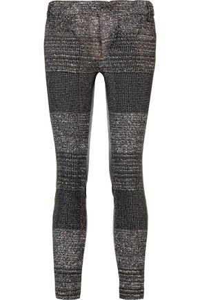 HAIDER ACKERMANN Grosgrain-trimmed leather-paneled checked tweed skinny pants