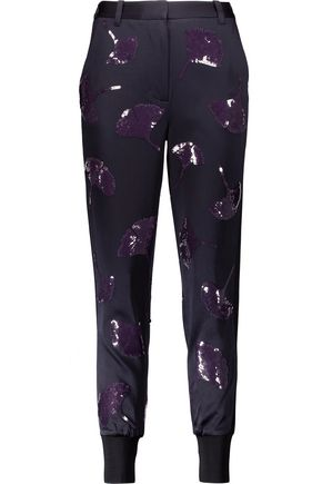 3.1 PHILLIP LIM Sequin-embellished washed-crepe tapered pants