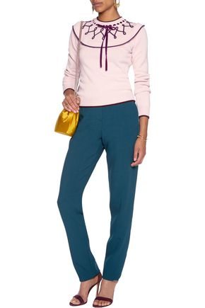 ROKSANDA Welles satin-trimmed crepe tapered pants